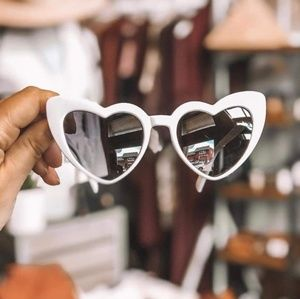 Accessories - Womens white sunglasses heart shaped